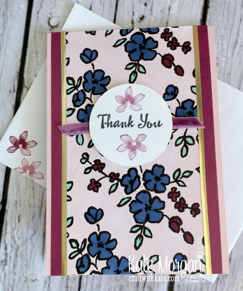Thank you card using 2018 Stampin Up Petal Palette by Kate Morgan, Australia.