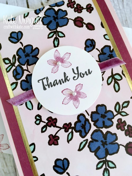 Thank you card using Stampin Up Petal Palette 2018 by Kate Morgan, Australia