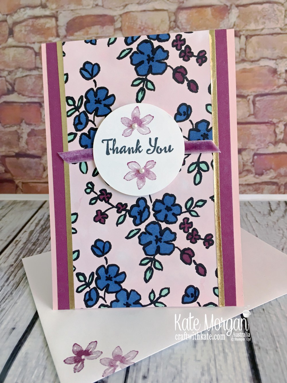 Thank you card using Stampin Up Petal Palette by Kate Morgan, Australia 2018.JPG