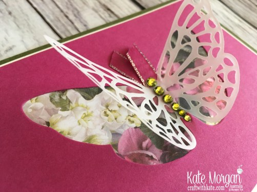 Springtime  Impressions, Petal Promenade DSP Stampin Up 2018 Butterfly by Kate Morgan Australia.
