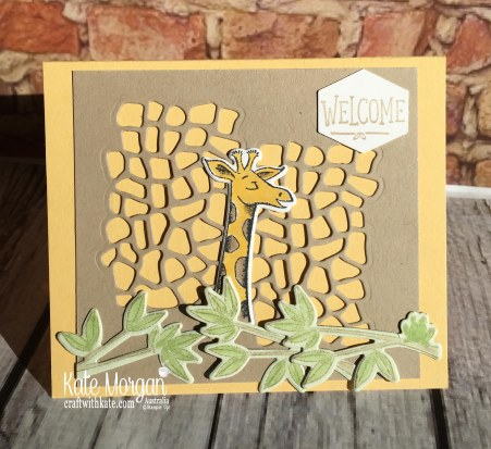 Animal Outings Giraffe welcome card, Stampin Up by Kate Morgan, Australia, 2018.