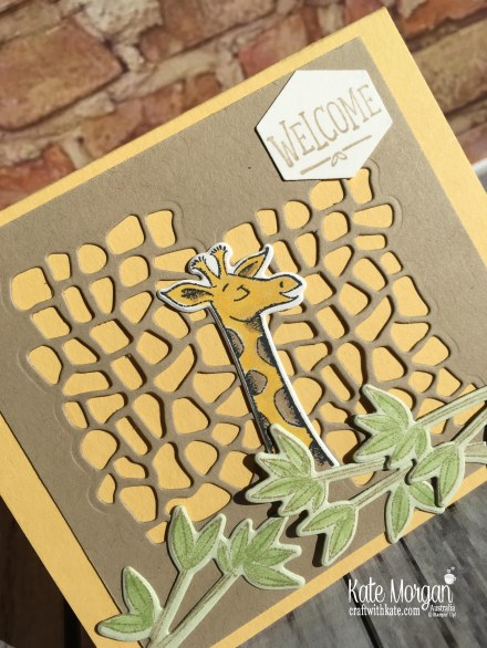 Animal Outings Giraffe welcome card, Stampin Up by Kate Morgan, Australia, 2018