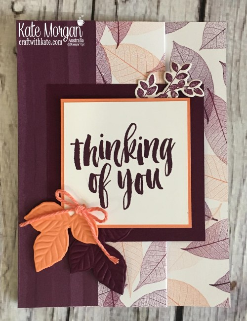 Fun Fold card using Nature's Poem DSP, Rooted in Nature Stampin Up Thinking of You by Kate Morgan, Australia 2018