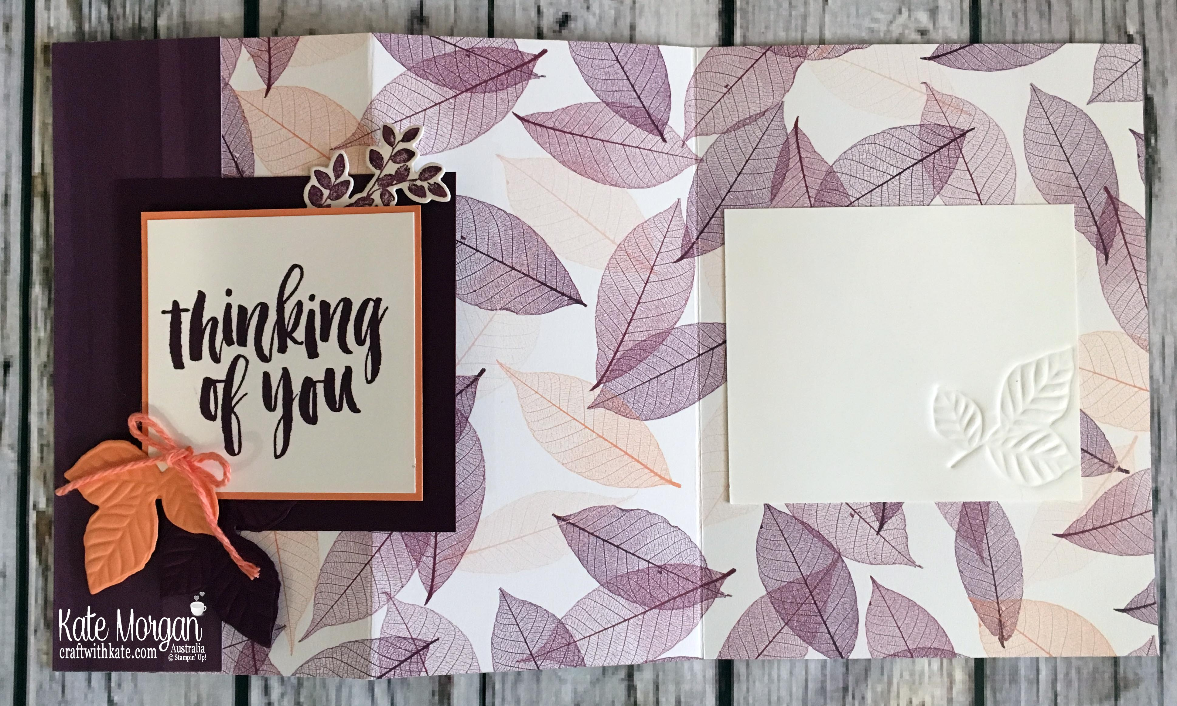 Fun Fold card using Nature's Poem DSP, Rooted in Nature Stampin Up Thinking of You by Kate Morgan, Australia, 2018.