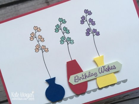 Varied Vases Stampin Up Feminine Card by Kate Morgan, Australia 2018