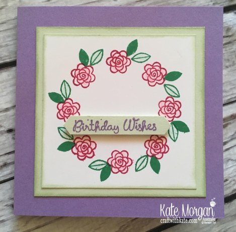 Varied Vases Wreath using Stamparatus Template Stampin Up Feminine Card by Kate Morgan, Australia 2018