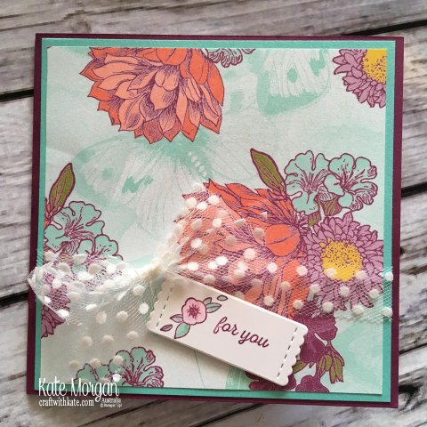 Blog Hop Tea Room DSP, Accented Blooms, Itty Bitty, Varied Vases, Stitched Labels, Stampin Up by Kate Morgan, Australia. #artwithheart