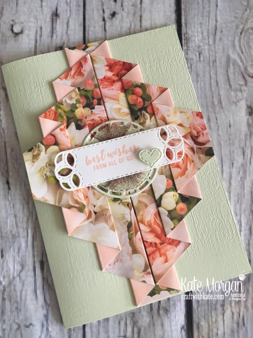 Double Pleat Fold card using Stampin Up Petal Promenade DSP by Kate Morgan, Australia, 2018