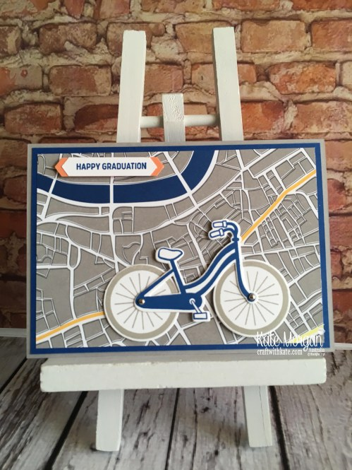 Graduation card using Stampin Up 2018 Bike Ride, Best Route DSP by Kate Morgan Australia F