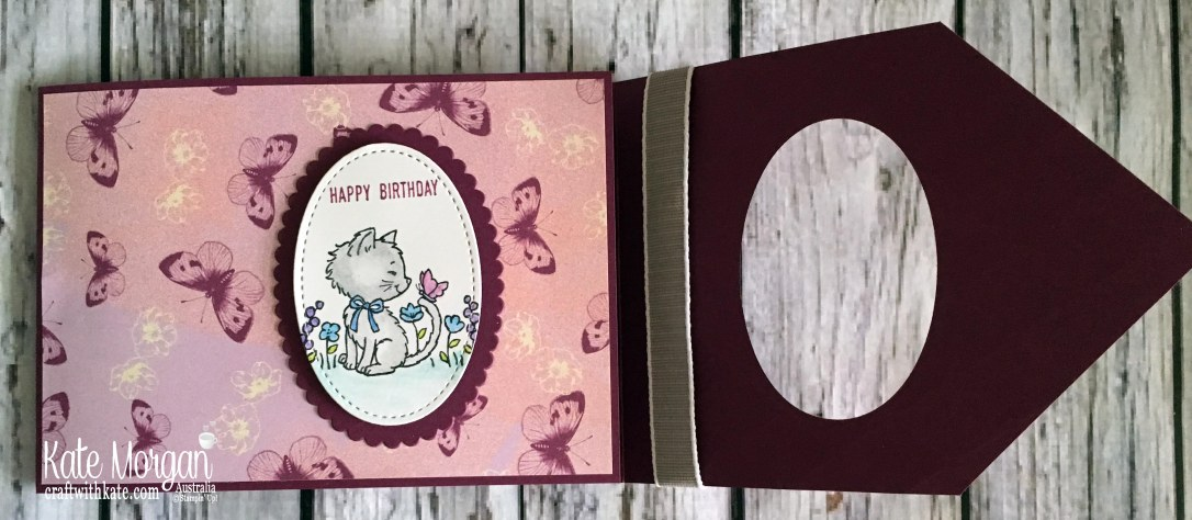 Pretty Kitty Fun Fold card using Stampin Up Tea Room DSP by Kate Morgan Australia.