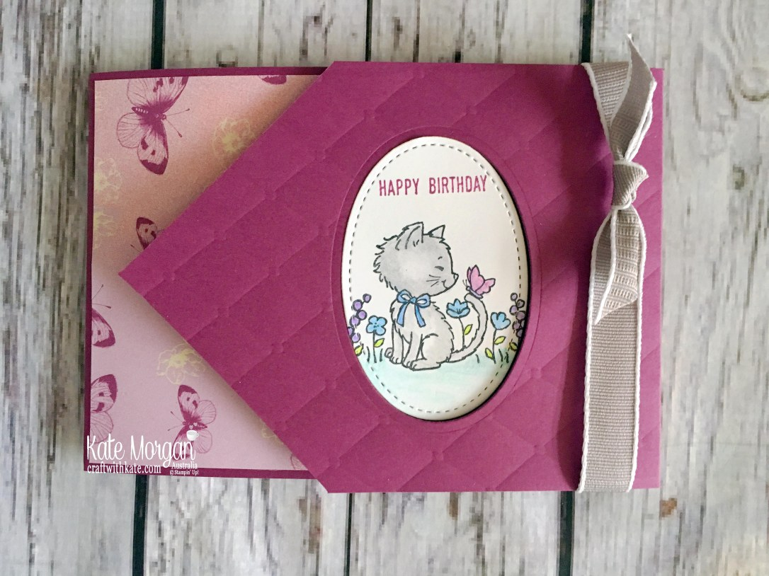 Pretty Kitty Fun Fold card using Stampin Up Tea Room DSP by Kate Morgan Australia