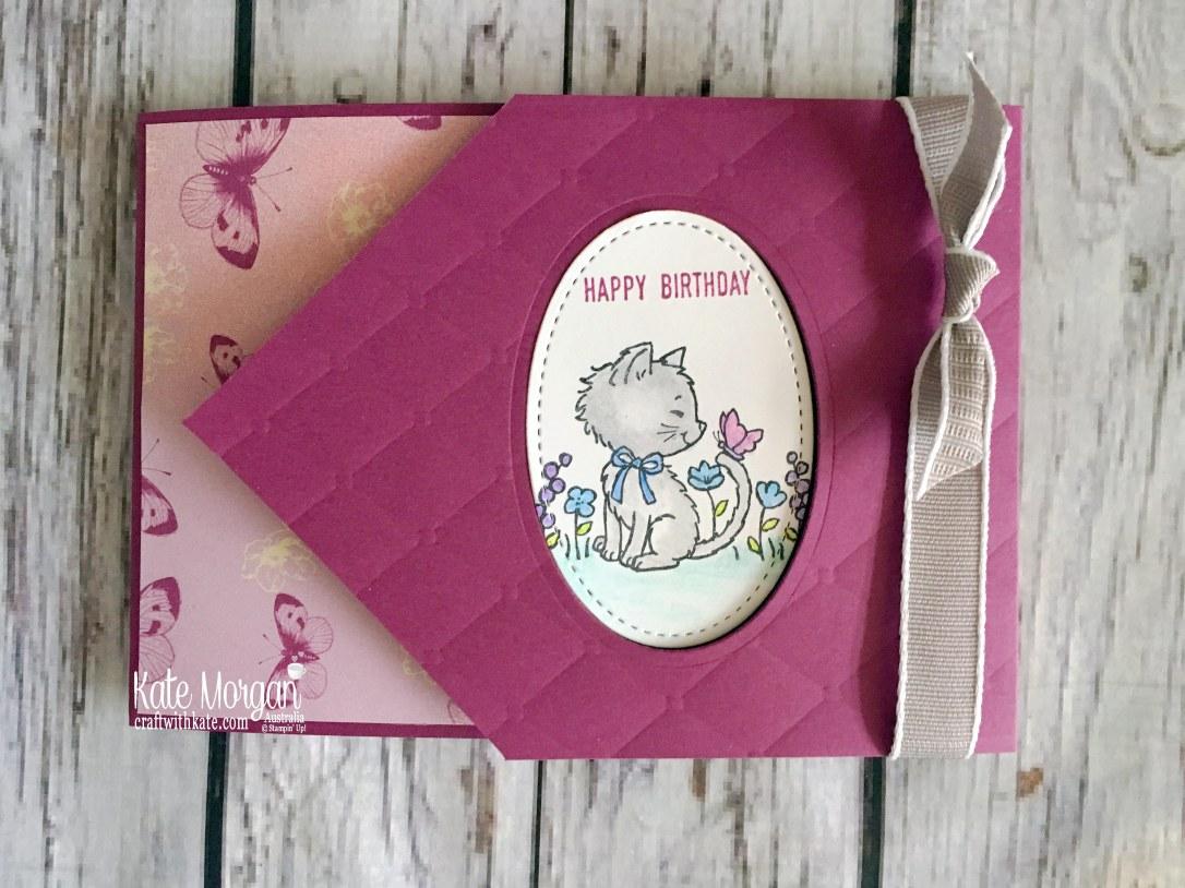 Pretty Kitty Fun Fold card using Stampin Up Tea Room DSP by Kate Morgan Australia