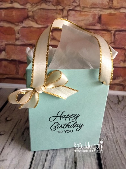 Tiffany style gift bag for 40th birthday by Kate Morgan, Independent Demonstrator Australia.