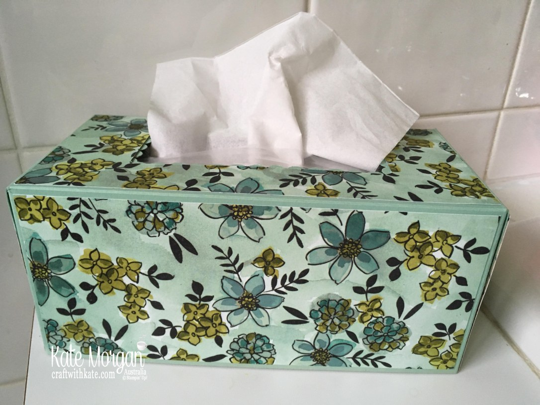 Tissue Box Cover using Stampin Up Share What You Love Specialty DSP by Kate Morgan Australia 2018.JPG