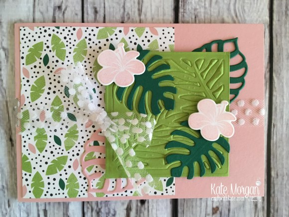 Tropical Chic card using Stampin Up 2018 Tropical Escape DSP by Kate Morgan Australia Hawaii.jpg