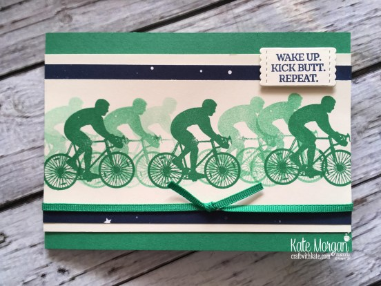 Wake Up Kick Butt Repeat card using Stampin Up Enjoy Life, Twinkle Twinkle DSP by Kate Morgan Australia, 2018