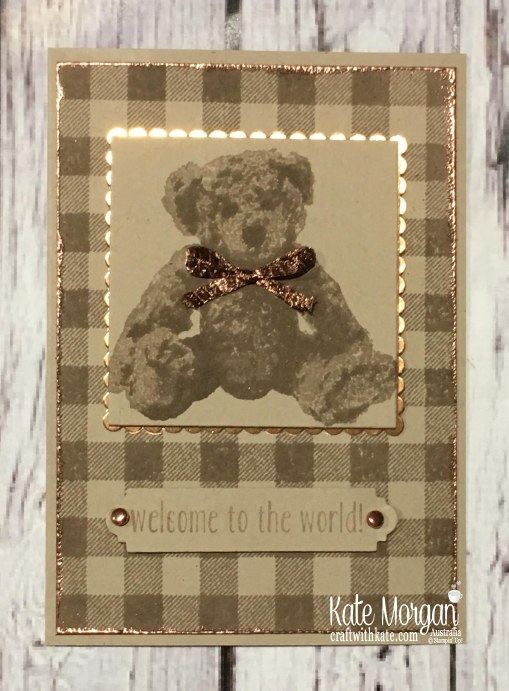 Baby Bear & Buffalo Check with Copper for Colour Creations Crumb Cake Challenge by Kae Morgan, Stampin Up Australia.JPG