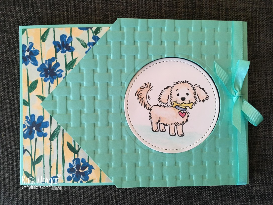 Bella & Friends Fun Fold card using Stampin Up Garden Impressions DSP by Kate Morgan Australia.JPG