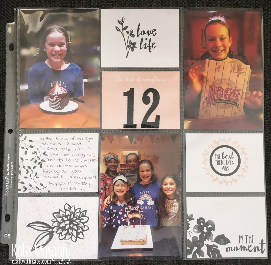 Memory Keeping 12th Birthday Project Life 12x12 by Kate Morgan, Stampin Up Australia 2018.JPG
