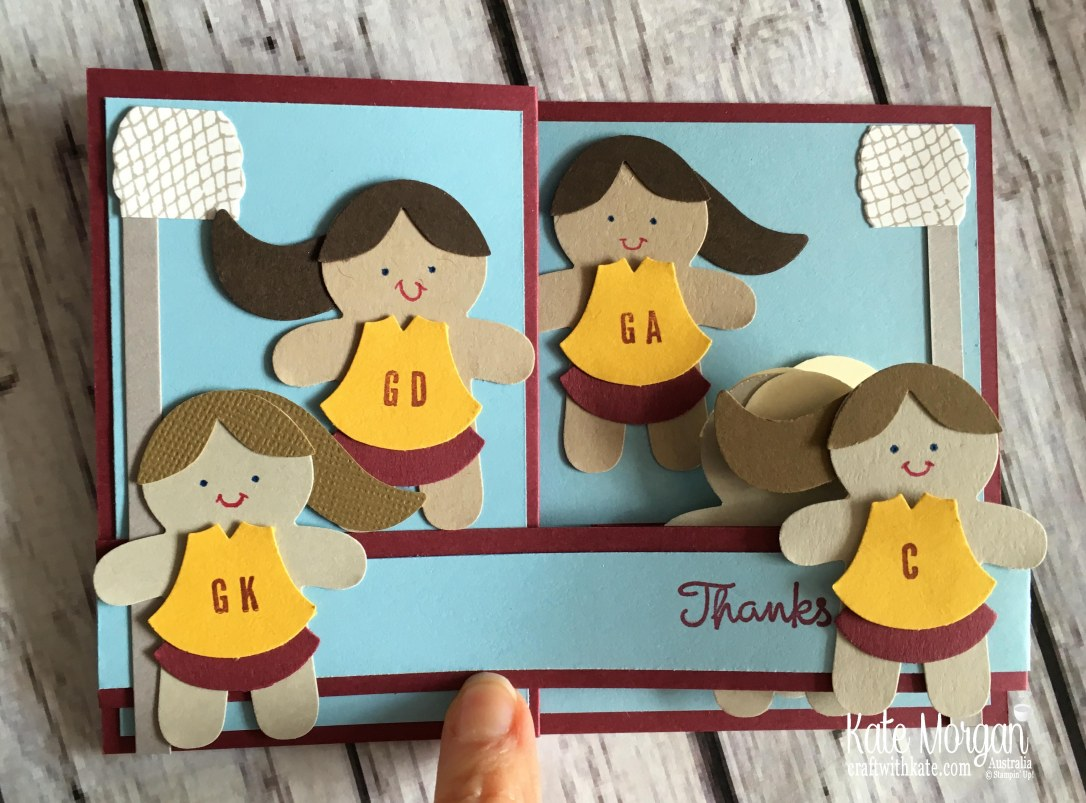 Thanks Netball Coach card using Stampin Up Punch Art by Kate Morgan Australia.