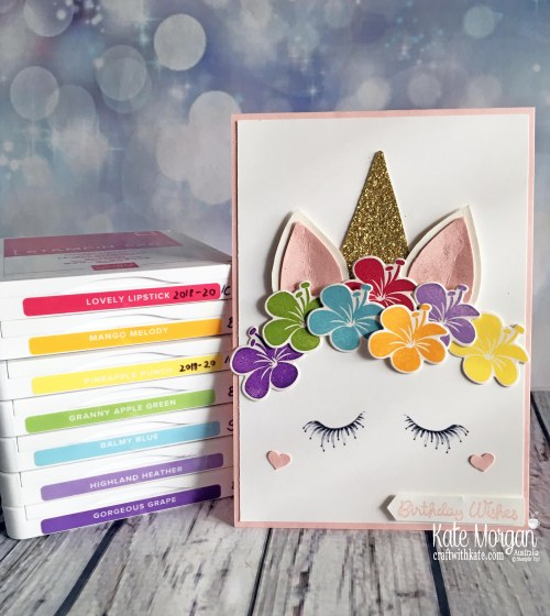Unicorn birthday card using Stampin Up Tropical Chic by Kate Morgan Australia.