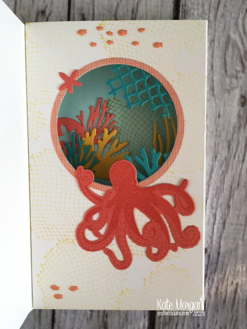 Wonderful Adventure Diaorama card using Stampin Up Sea of Textures by Kate Morgan, Australia.