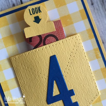 4th Birthday Buffalo Check Pocket card by Kate Morgan Stampin Up, Australia 2018