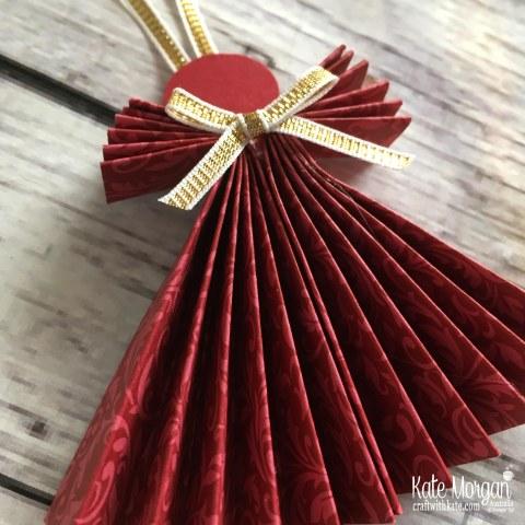 Paper Angel using Stampin Up Dashing Along DSP by Kate Morgan, Australia Holiday catalogue 2018