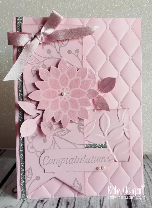 AWHT Blog Hop, Congratulations card using Stampin Up Flourishing Phrases by Kate Morgan Australia 2018.