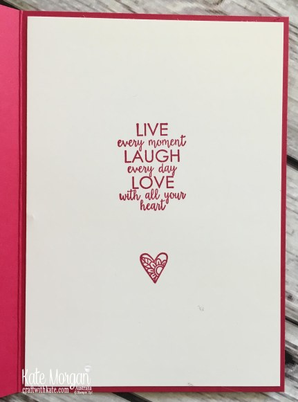 Blog Hop- Pink! Ribbon of Courage Watercolouring Stampin Up by Kate Morgan Australia 2018 inside