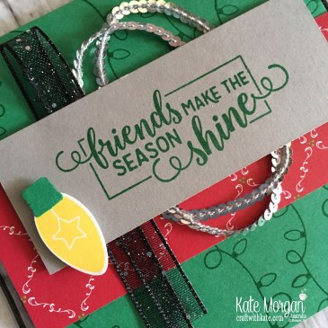 Christmas card using Stampin Up Making Christmas Bright Bundle by Kate Morgan, Australia. Holiday catalogue 2018.
