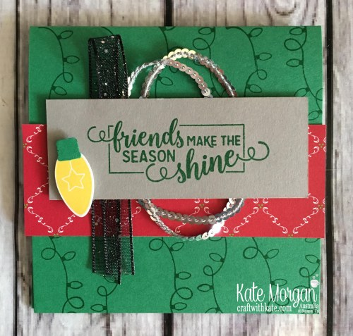 Christmas card using Stampin Up Making Christmas Bright Bundle by Kate Morgan, Australia. Holiday catalogue 2018