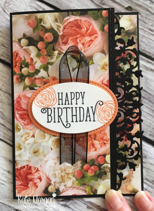 Colour Creations Blog Hop Grapefruit Grove using Stampin Up Petal Promenade DSP & Happy Birthday Gorgeous by Kate Morgan Australia 2018