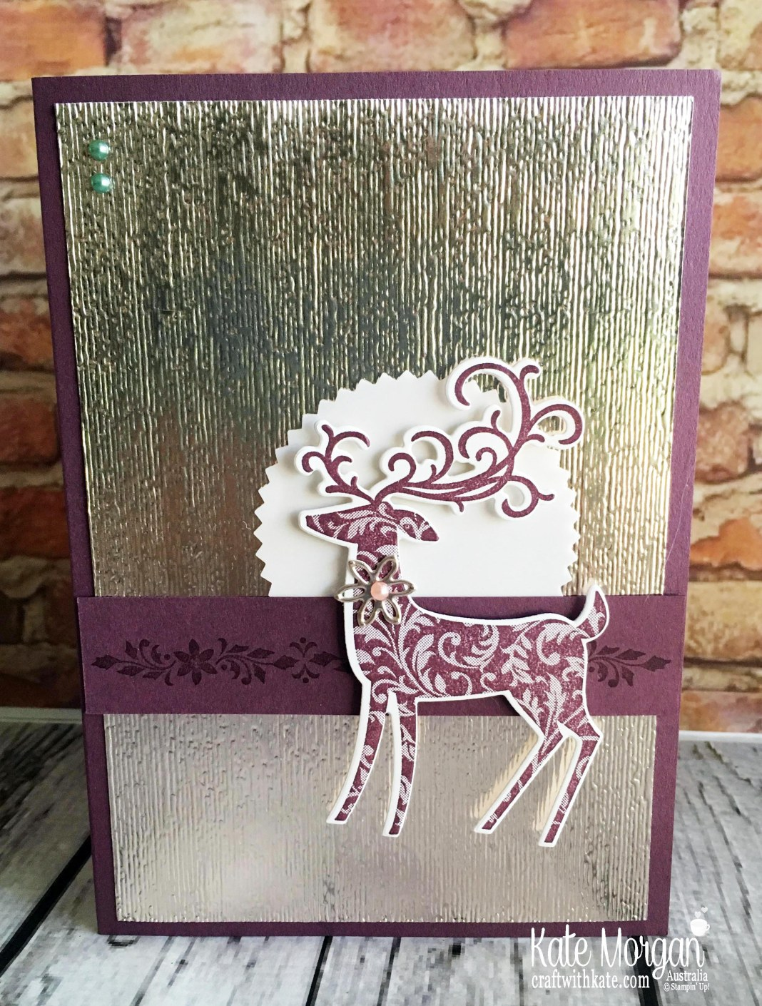 Dashing Deer with Champagne Foil embossed with Subtles TIEF from Stampin Up by Kate Morgan Australia Holiday catalogue 2018 Fresh Fig Colour Creations Blog Hop.JPG