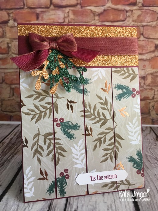 Joyous Noel DSP & Glimmer handmade card by Kate Morgan, Stampin Up Australia Holiday catalogue 2018