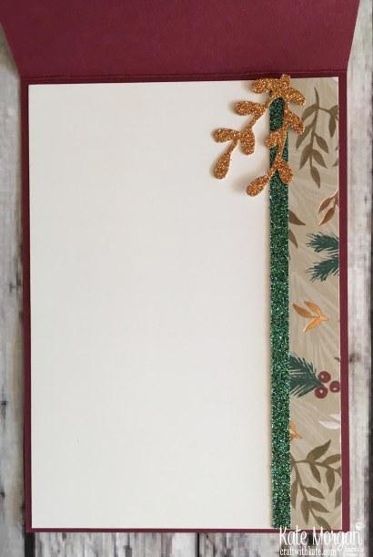 Joyous Noel DSP & Glimmer handmade card inside by Kate Morgan, Stampin Up Australia Holiday catalogue 2018