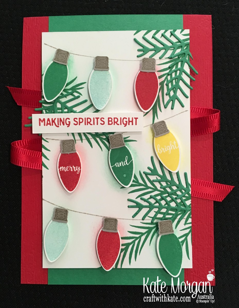 Christmas card using Stampin' Ups Making Christmas Bright Bundle by Kate Morgan, Australia. Holiday catalogue 2018.JPG