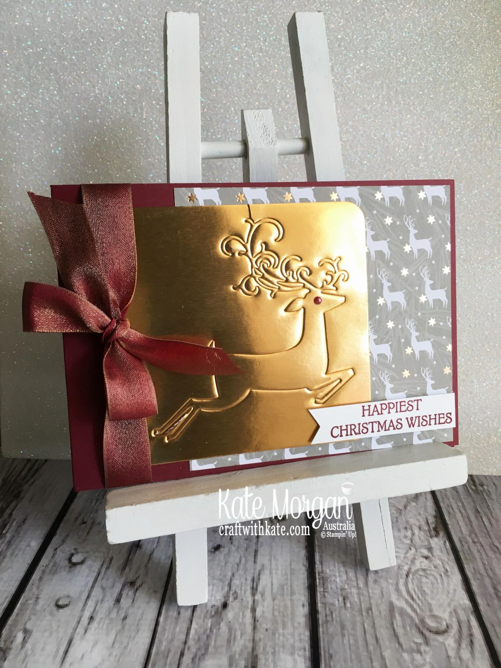 Dry Embossed Christmas Card using Stampin Up Dashing Deer & Joyous Noel by Kate Morgan Australia Christmas 2018..JPG