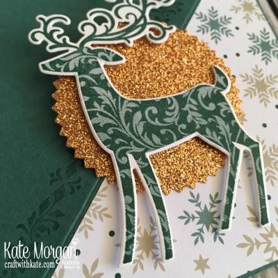 Easel Card using Stampin Up Dashing Deer & Joyous Noel by Kate Morgan Australia Christmas 2018 close
