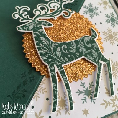Easel Card using Stampin Up Dashing Deer & Joyous Noel by Kate Morgan Australia Christmas 2018 close