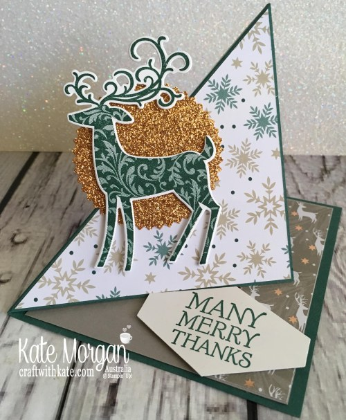 Easel Card using Stampin Up Dashing Deer & Joyous Noel by Kate Morgan Australia Christmas 2018