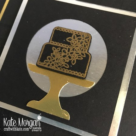 Piece of Cake in Black Silver Gold, Occasions catalogue 2019 Sneak Peek by Kate Morgan Stampin Up Australia.