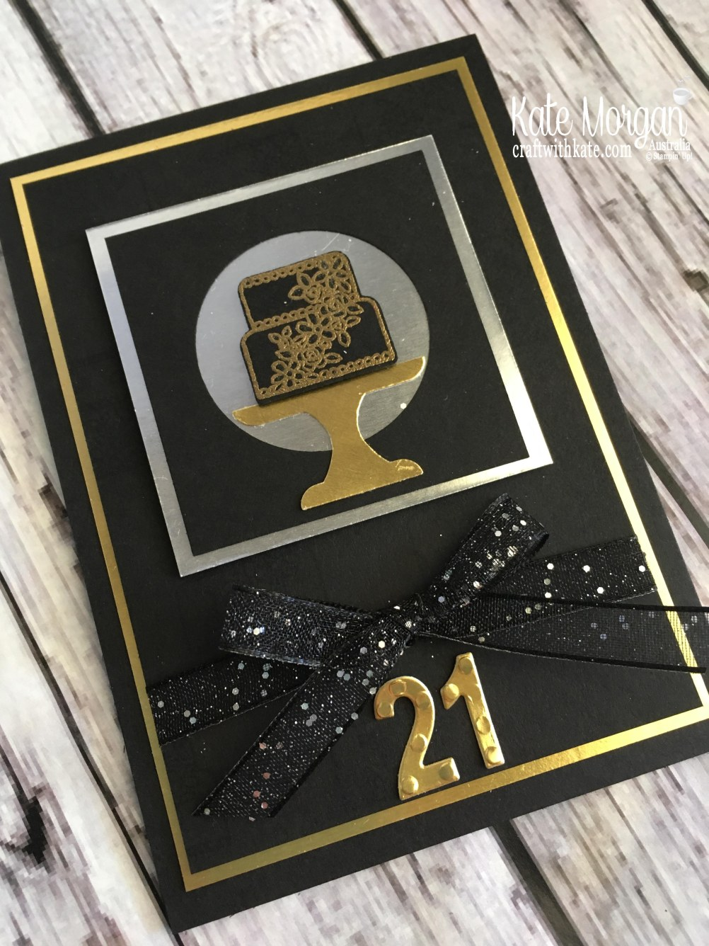 Piece of Cake in Black Silver Gold, Occasions catalogue 2019 Sneak Peek by Kate Morgan, Stampin Up Australia.JPG