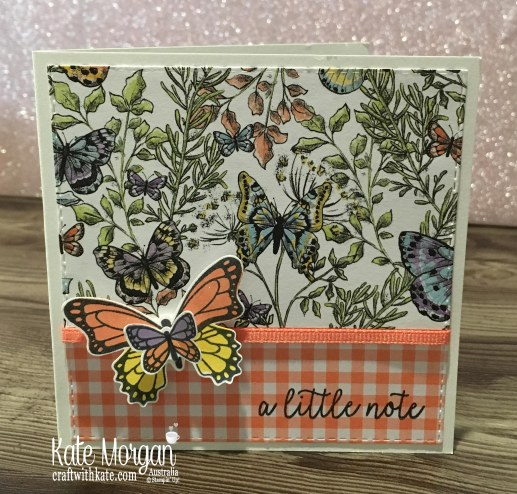 Butterfly Gala, Gingham Gala DSP Stampin Up Occasions Saleabration Square card by Kate Morgan, Australia 2019