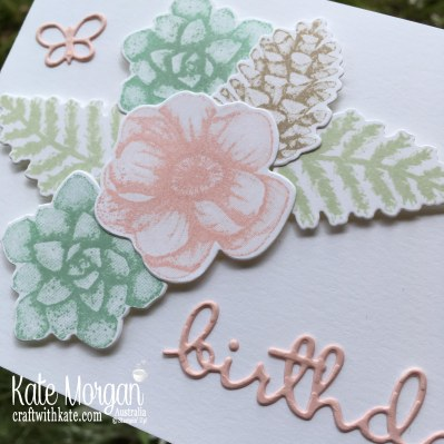 Feminine birthday card using Stampin Up Painted Seasons Saleabration 2019 by Kate Morgan Australia.