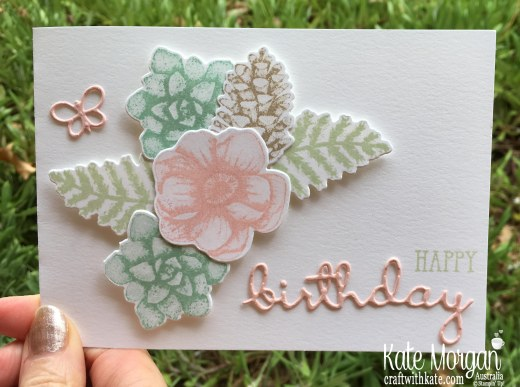 Feminine birthday card using Stampin Up Painted Seasons Saleabration 2019 by Kate Morgan Australia