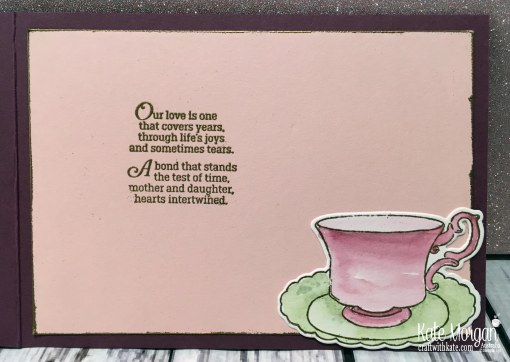 Mother's Day Card using Stampin Up Tea Together Watercolouring by Kate Morgan, Australia.