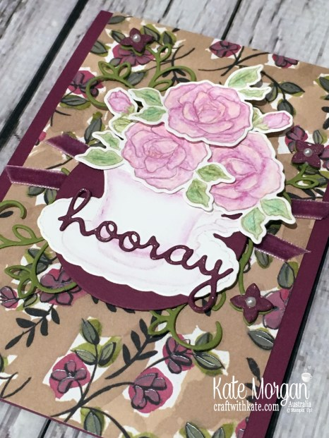 Colour Creations Blog Hop Rich Razzleberry with Stampin Up Tea Together, Well Written, Watercolouring by Kate Morgan, Australia, Occasions 2019.