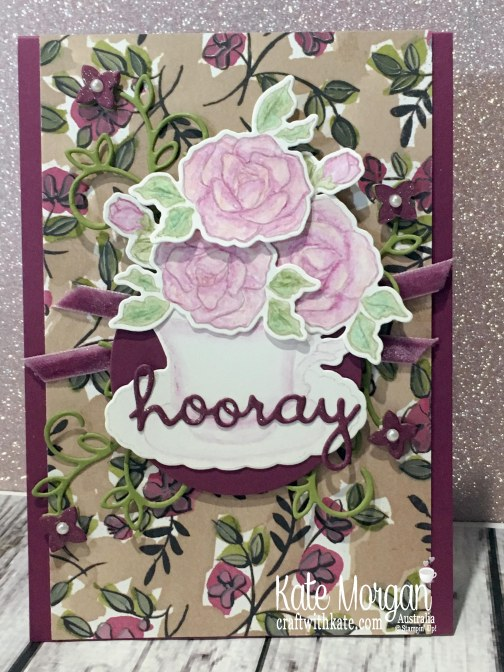 Colour Creations Blog Hop Rich Razzleberry with Stampin Up Tea Together, Well Written, Watercolouring by Kate Morgan Australia Occasions 2019.