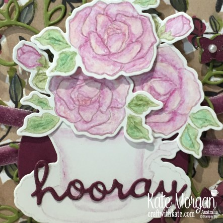 Colour Creations Blog Hop Rich Razzleberry with Stampin Up Tea Together, Well Written, Watercolouring by Kate Morgan Australia Occasions 2019
